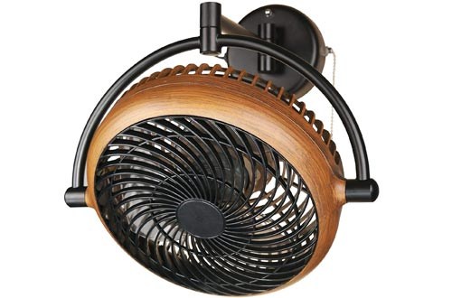 Industrial Wall Mount Fans 8 Inches Wall Mount Ceiling Fans with Pull Chain Control 2-Speed Adjustable Motor Direction, UL Listed, Black/Walnut Finished
