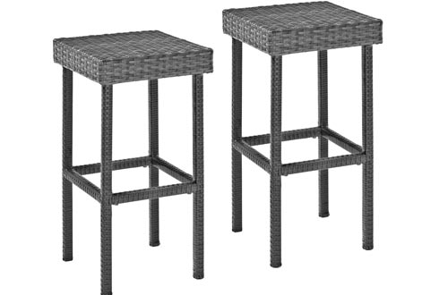 Crosley Furniture Palm Harbor Outdoor Wicker 29-inch Bar Height Stools - Grey (Set of 2)