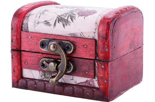 Ownsig Vintage Handmade Treasure Small Wooden Jewelry Boxes Ring Necklace Earrings Storage Organizer Case