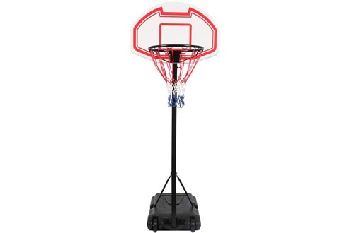 FCH Portable Basketball Hoops Height Adjustable Basketball Stand Backboard System for Kids Teenagers Youth w/Wheels Indoor & Outdoo (Red, White)