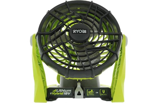 Ryobi P3320 18 Volt Hybrid One+ Battery or AC Powered Adjustable Indoor / Outdoor Shop Fans