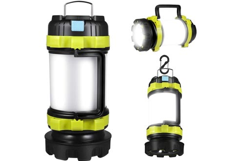 APLUSTE LED Camping Lanterns, Rechargeable Portable Lanterns Flashlight, 3600mAh Power Bank, Two Way Hook of Hanging, Perfect for Hurricane, Emergency Light, Outdoor Recreations, USB Cable Included