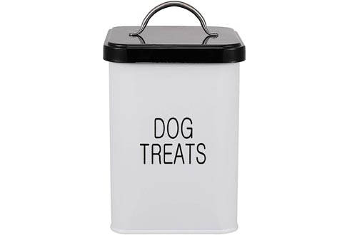 Dog Treat and Food Storage Tin with Lid and Scoop Included - White-Coated Carbon Steel - Tight Fitting Lids - Pet Food Containers