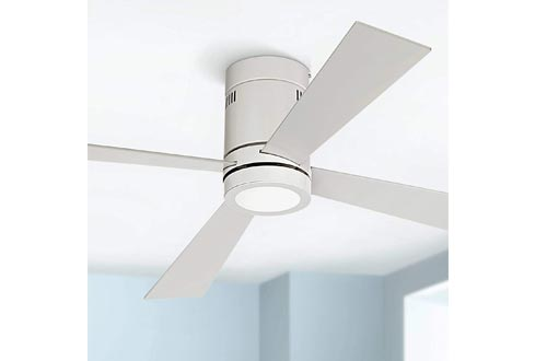 """52"""" Revue Modern Hugger Low Profile Ceiling Fans with Light LED Flush Mount Remote Control Opal White for Living Room Kitchen Bedroom - Casa Vieja"""