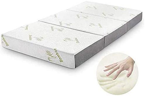 Folding Mattress, Inofia Memory Foam Tri-fold Mattresses with Ultra Soft Removable Bamboo Cover Washable, Non-Slip Bottom & Breathable Mesh Sides - Queen 6-Inch
