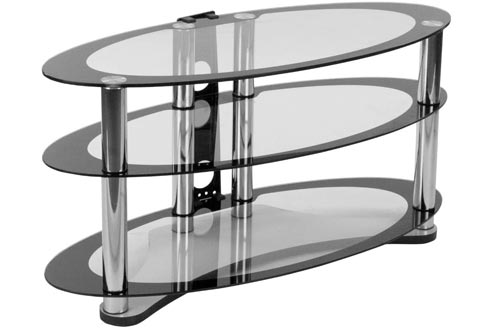 Flash Furniture Westchester Two-Tone Glass TV Stands with Shelves and Chrome Tubing