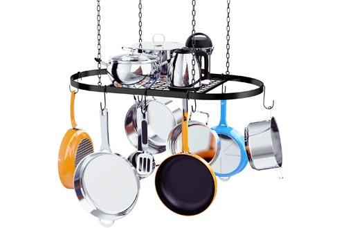 Kaptron Pot Racks Ceiling Mount Cookware Pan Racks Hanging Hanger Organizer Storage with 10 Pot Hooks - Multi-Purpose Organizer Holder for Home, Restaurant, Kitchen Cookware, Utensils, Household