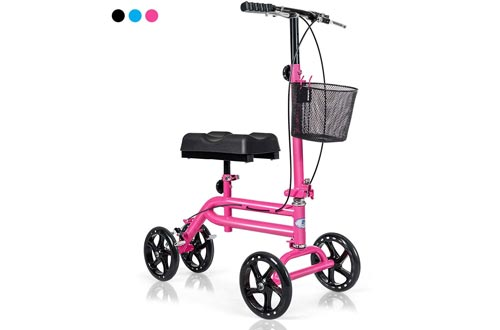 Giantex All Terrain Steerable Knee Scooters, Medical Knee Walker for Foot Injuries Ankles Surgery, Height Adjustable Weight Capacity 350lbs, Orthopedic Seat Pad, Heavy Duty Crutches Alternative (Pink)