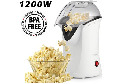 Hot Air Popcorn Popper, Home Popcorn Maker Air Popcorn Machines with Measureing Cup, No Oil Needed (White)