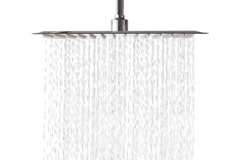 Lordear 12 Inch Rainfall Shower Heads Solid Square Ultra Thin 304 Stainless Steel Polish Chrome 12 Inch Rain Shower Heads,Waterfall Full Body Coverage with Silicone Nozzle