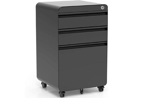 3-Drawer Filing Cabinets, Metal Vertical File Cabinets with Hanging File Frame for Legal & Letter File Install-Free Anti-tilt Design and Lockable System Office Rolling File Cabinets | Black