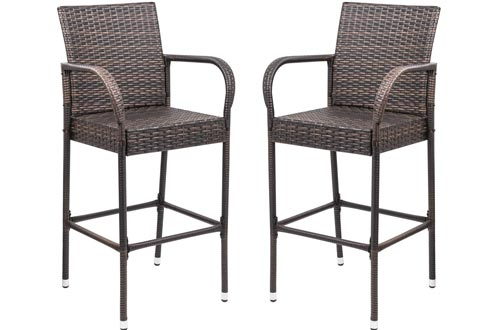 Homall Patio Bar Stools Wicker Barstools Indoor Outdoor Bar Stools Patio Furniture with Footrest and Armrest for Garden Pool Lawn Backyard Set of 2 (Brown)