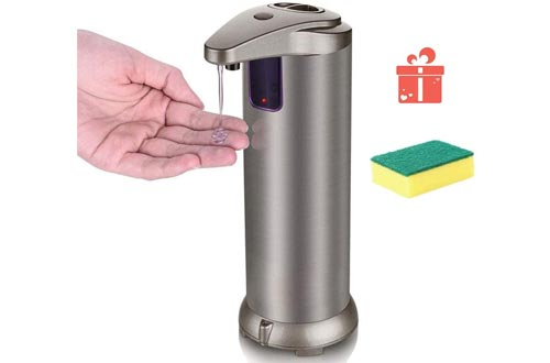 HOUJIN Soap Dispensers, Touchless Automatic Soap Dispensers for Kitchen Bathroom Hotel with Waterproof Base Infrared Motion Sensor Stainless Steel Hand Free Auto Sensor Soap Dispensers