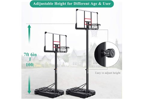 MARNUR Portable Basketball Hoops & Goal Basketball System Basketball Equipment with Height Adjustable 7ft 6in-10ft with 44 Inch Backboard & Wheels for Youth Kids Indoor Outdoor