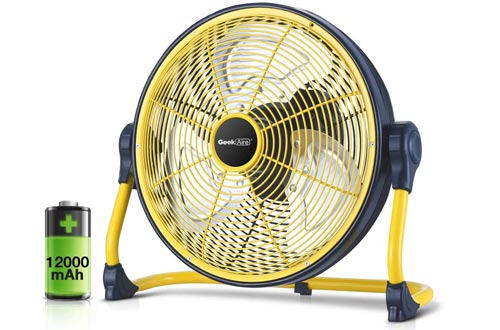 Geek Aire Fans, Battery Operated Floor Fans, Rechargeable Powered High Velocity Portable Fans with Metal Blade, Built-in Durable Battery Run for Whole Day Time, for Camping Travel Hurricane, 12 Inch