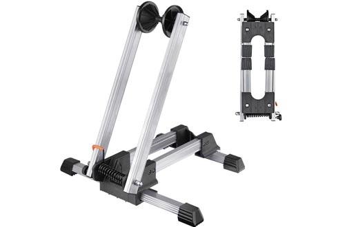 "RELIANCER Sports Foldable Alloy Bicycle Storage Stands Bike Floor Parking Rack Wheel Holder Fit 20""-29"" Bikes Indoor Home Garage Using Silver"