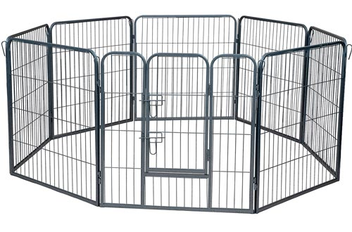 Wire Pens Dog Fence Playpen - Pet Dogs & Cats Outdoor Exercise Pens - Tube Gate w/Door - (8 Panel / 30 Square Feet Play Yard) Heavy Duty Portable Folding Metal Animal Cage Corral Tall Fences