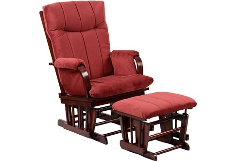 Artiva USA Home Deluxe Marsala Super Soft Microfiber Cushion Cherry Wood Glider Chairs and Ottoman Set, Red