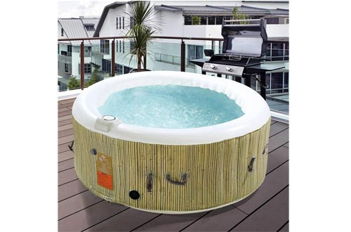 MidwestGarv27 4-Person Inflatable Hot Tubs with Cover and Pump - Heated Bubble Massage Spa I Durable and I Everything Needed to Set Up is Included