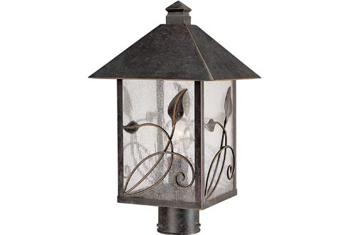 """French Garden Country Cottage Post Lights Bronze Leaf and Vine Motif 17"""" Clear Seedy Glass for Exterior Garden Yard - Franklin Iron Works"""