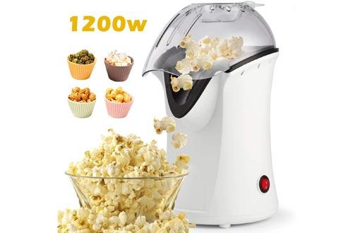 1200W Popcorn Maker, Popcorn Machines, Hot Air Popcorn Popper Healthy Machines No Oil Needed (White)