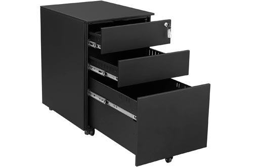 SONGMICS Steel File Cabinets 3 Drawer with Lock Mobile Pedestal Under Desk Fully Assembled Except Casters Black UOFC60BK
