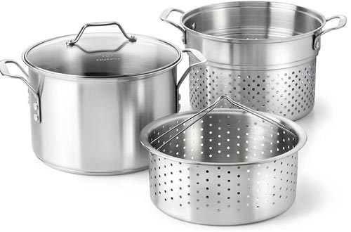 Calphalon Classic Stainless Steel 8 quart Stock Pots with Steamer and Pasta Insert