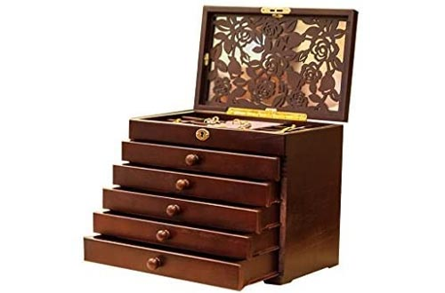 Legoyo Rose Carved 6 Layer Wooden/Real Wood Jewelry Boxes and Lock Wine Red