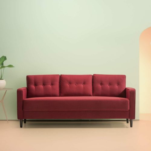 Zinus SSMC-RE Mikhail Mid-Century Upholstered 76.4 Inch Sofa / Living Room Couch, Ruby Red Weave
