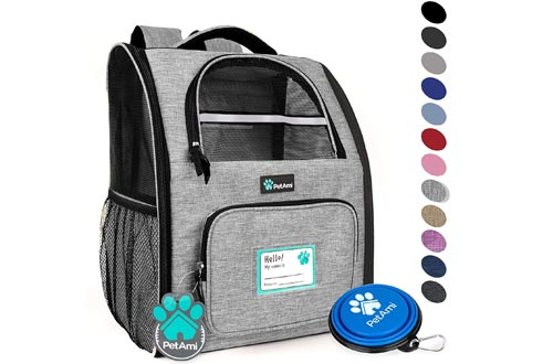 PetAmi Deluxe Pet Carrier Backpacks for Small Cats and Dogs, Puppies | Ventilated Design, Two-Sided Entry, Safety Features and Cushion Back Support | for Travel, Hiking, Outdoor Use