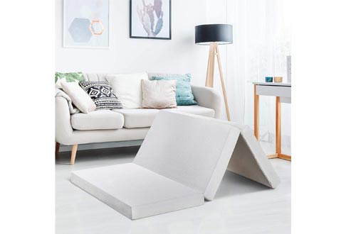"""Best Price Mattresses 4"""" Queen Trifold Mattresses Topper - CertiPUR-US Memory Foam Mattresses Topper with Cover, Queen Size"""