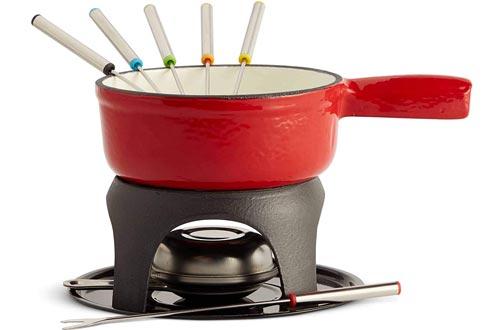 VonShef Swiss Fondue Set, Cast Iron Fondue Pot and 6 Fondue Forks Included, Ideal for a Cheese or Chocolate Fondue, 1.1 Quart Capacity