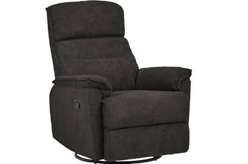 Ravenna Home Pull Recliner with Rotating 360 Swivel Glider, Living Room Chairs, Fabric, Dark Grey