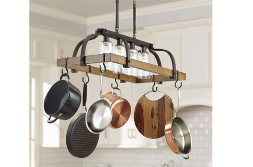 "Eldrige Bronze Wood Pot Racks Linear Pendant Chandelier 36 1/2"" Wide Rustic Farmhouse Clear Seeed Glass 4-Light Fixture for Kitchen Island Dining Room - Franklin Iron Works"