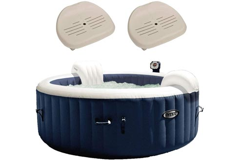 Intex Pure Spa Inflatable 4 Person Hot Tubs and Slip Resistant Seat (2 Pack)