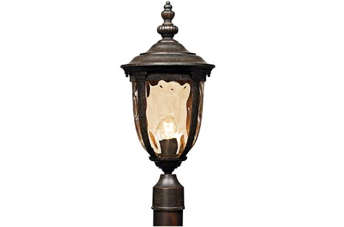 "Bellagio Post Lights Veranda Bronze 21"" Hammered Glass for Deck Porch Yard Patio - John Timberland"