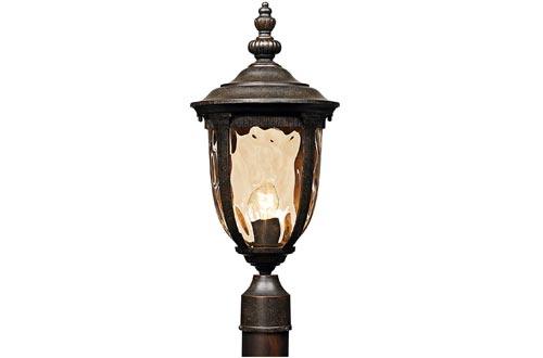 "Bellagio Post Lights Veranda Bronze 21"" Hammered Glass for Deck Porch Yard Patio - John Timberland"