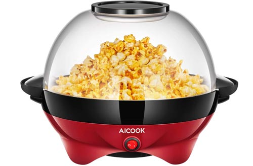 AICOOK Electric Hot Oil Popcorn Popper Machines, Popcorn Maker with Stirring Rod Offers Large Lid for Serving Bowl and Convenient Storage, 6-Quart/24-Cup, Red