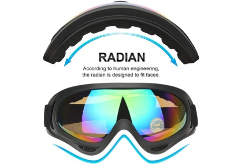 COOLOO Ski Goggles, Snowboard Goggles for Men Women & Youth, Kids, Boys & Girls, Snow Goggle Winter Skiing Sport Goggles with Helmet Anti Fog Protection, Anti-Glare Lenses, Wind Resistance, 2 Pack