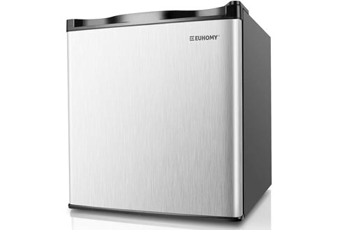 Euhomy Mini Freezers Countertop, Energy Star 1.1 Cubic Feet Single Door Compact Upright Freezers with Reversible Stainless Steel Door(Silver)