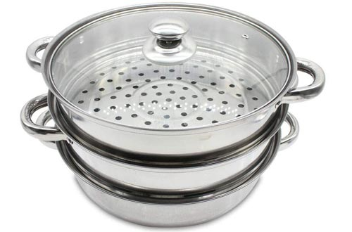 3 Tier Steamer Pots Steaming Cookware Multi-Layer Boiler Pots with Handles on Both Sides+Glass Lid,Diameter 11Inch Height 9.84Inch Stainless Steel Kitchen Cooking Pots
