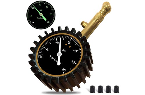 GLISTON Car Tire Pressure Gauges, Tire Pressure Gauges, Heavy Duty Tire Air Pressure Gauges for Car, Motorcycle, SUV, Bike Tires (0-60 PSI)