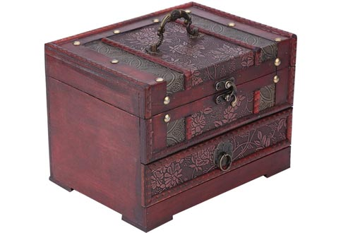 Brino Jewelry Chest, 1pc Classical Wooden Jewelery Gift Storage Boxes Case Holder Chest Organizer with Mirror