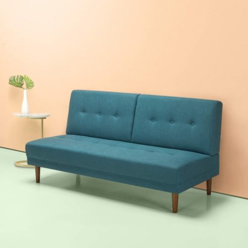 Zinus Juan Mid-Century 65 Inch Armless Sofa / Living Room Couch, Turquoise