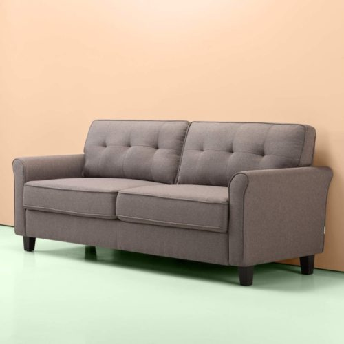 Zinus Sayan Traditional Upholstered 78.7 Inch Sofa Couch / Loveseat, Sand Grey