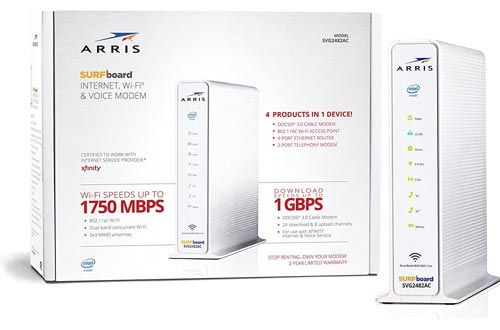 ARRIS Surfboard SVG2482AC DOCSIS 3.0 Cable Modem & AC1750 Dual-Band Wi-Fi Routers with Voice, Certified for Xfinity Internet & Voice (White)