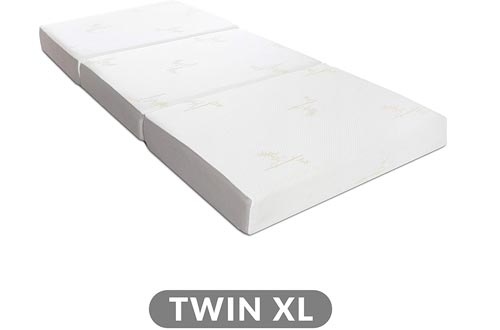 Milliard Tri Folding Memory Foam Mattresses with Washable Cover Twin XL (78 inches x 38 inches x 6 inches)