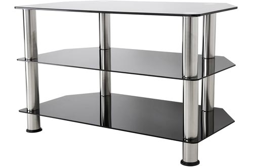 AVF SDC800-A TV Stands for Up to 42-Inch TVs, Black Glass, Chrome Legs