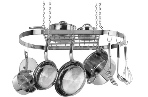 Range Kleen CW6001 Stainless Steel Hanging Oval Pot Racks 1.5 Inch H by 33 Inch W by 17 Inch D