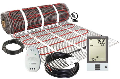 LuxHeat 70 Sqft Mats Kit (240v) Electric Radiant Floor Heating System for Under tile, Stone & Laminate. Includes Self-Adhesive Heat Mats, OJ Microline Programmable Thermostat with GFCI & Cable Monitor